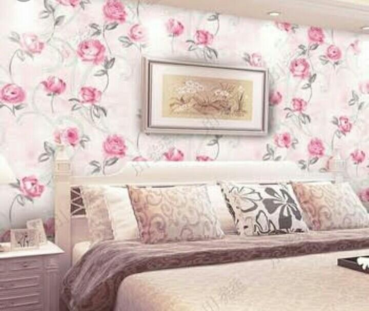 WallpaperCorak Bunga Berwarna Merah Muda
