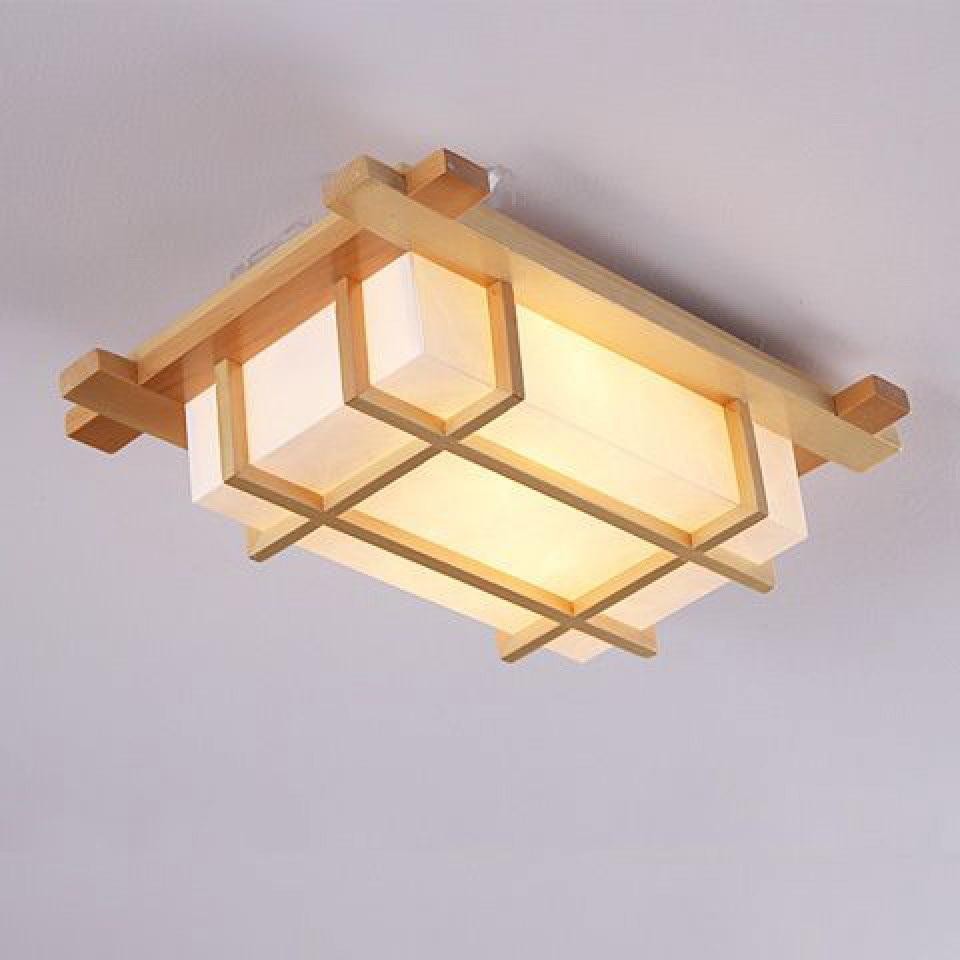 Plafon dengan lampu beraksen kayu